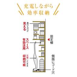掃除機もしまえる引き戸本棚 ハイタイプ(幅74高さ180cm) 【見せたくない家電もおまかせ】固定棚が床上約120cmと高めの設計で、側板にコード穴もあるので、出しっぱなしになりがちな充電式の掃除機も配線したまま収納可能。