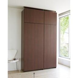 日用品もしまえる頑丈段違い書棚(本棚) 幅80cm 高さ180cm 全て隠してすっきり。(ウ)ダークブラウン