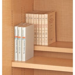 日用品もしまえる頑丈段違い書棚上置き(幅80cm) (1枚で奥行18.5cm)棚板は、収納物に合わせて前後段違いにもできます。