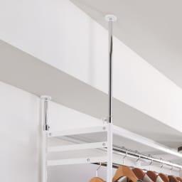 設置スペース奥行を抑えた薄型大容量頑丈ダブルハンガー ハイタイプ 幅150~250cm 突っ張り式なので大型でもしっかり設置。