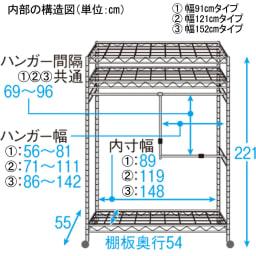 洗えるカバー付き 頑丈ハンガーラック 2段掛けハイタイプ・幅152cm 内部の構造図(単位:cm)