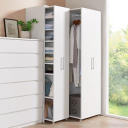 薄型で隠せる収納 衣類収納ロッカー 棚タイプ コーディネート例(イ)ホワイト 棚タイプは畳む衣類やバッグ類の収納に。