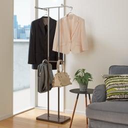 手軽で便利なショップスリムハンガー シングルタイプ (イ)ダークブラウン 中段のバッグ、小物掛けもとっても便利。ダブルタイプも省スペース。ご家族のちょい掛けハンガーに。 ※商品画像はダブルタイプとなります。