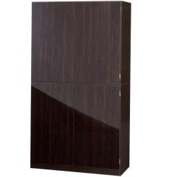スタイリッシュな着物専用クローゼット 上棚&下盆収納・幅100cm (イ)ダークブラウン 扉を閉じた状態