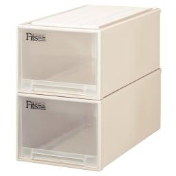 Fits フィッツ収納ケース押し入れタイプ 奥行74cm 幅39cm 高さ30cm 2個組 (ア)カプチーノ(アイボリー系) 同色2個組でお届けします。