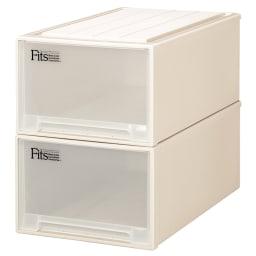 Fits フィッツ収納ケース 押し入れタイプ 奥行74cm 幅44cm 高さ30cm 2個組 (ア)カプチーノ(アイボリー系) 同色2個組でお届けします。