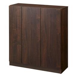 天然木調シューズボックス ロー 幅99高さ108cm (イ)ダークブラウン