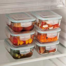 ガラス保存容器 6点セット 冷蔵庫でも活躍。