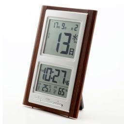 日めくり電波時計温度湿度計付き 裏面のスタンドで自立します。