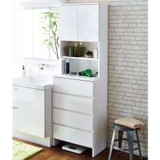 家電が使えるコンセント付き 多機能洗面所チェスト 幅60cm