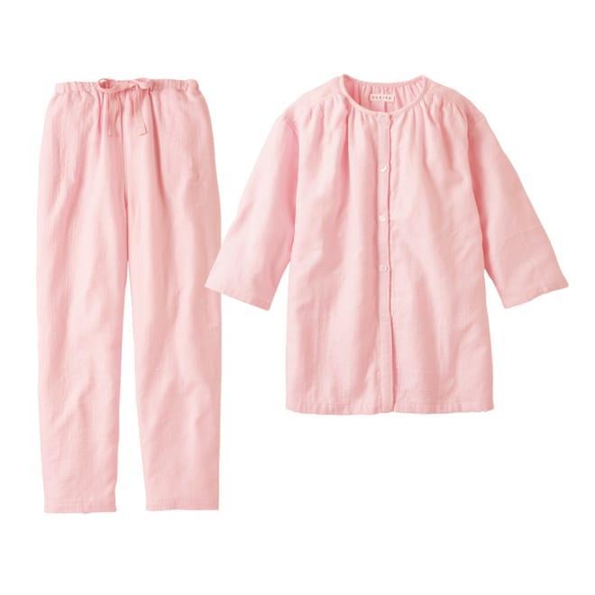 内野(ウチノ)/UCHINO マシュマロガーゼ(R) ノーカラーパジャマ (イ)ライトピンク