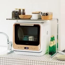 食洗機の上が使えるステンレスラック 意外と大きくてシンク周りが使えなくなる食洗器。でもデッドスペースを有効利用できるのがこのラックです!