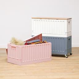 コンテナストレージボックス 単品 手前から(ア)ピンク (イ)ホワイト (ウ)グレー キャスターも取り付けでき、移動もラクに。
