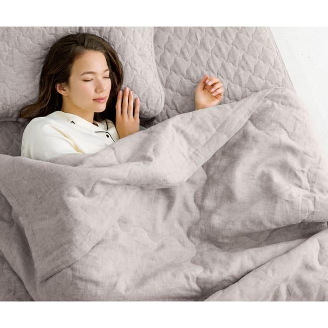 洗えるふんわりリネンシリーズ ケット (ア)グレージュ  リネンのハリコシと綿わたのふっくら感が心地よいマリアージュに。