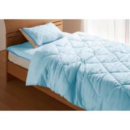 テンセルTM &ガーゼ寝具シリーズ お得な掛け敷きセット(コンフォーター+敷きパッド+ピローパッド) (イ)ブルー コーディネート例 ※お届けはコンフォーター+敷きパッド+ピローパッドです。