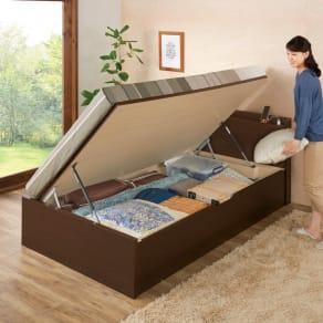 ガス圧横開きベッド(国産ポケットコイルマットレス付き) ショート セミシングル 写真