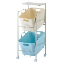 洗濯物の仕分けに便利 大きなバスケットのランドリーワゴン 2段 (ア)マルチ・2段タイプ タオル収納や洗濯カゴとしてお使いいただけます。