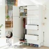 組立不要 たっぷりの棚と引き出しで片付くサニタリー収納庫 ハイタイプ 幅99cm 写真