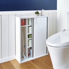 トイレ収納庫 引き戸タイプ 幅60cm・5段 写真