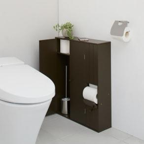 ペーパーが取り出しやすいトイレ収納庫 ワイド 幅50.5cm 奥行17.5cm 高さ65cm 写真
