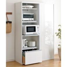 全部隠せる スライド棚付きキッチン家電収納庫 ハイタイプ