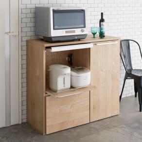 天然木調隠せる家電収納キッチンカウンター 奥行45.5cm 写真