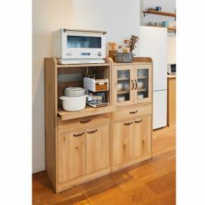 オーク木目調のミニキッチン収納・食器棚シリーズ キャビネット 大サイズ 高さ120.5cm 写真