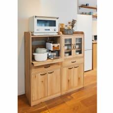 オーク木目調のミニキッチン収納・食器棚シリーズ キャビネット 大サイズ 高さ120.5cm