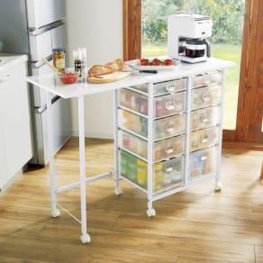 広がる調理台付き多段キッチンストッカー 幅72(天板伸長時幅120cm) 写真