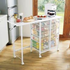 広がる調理台付き多段キッチンストッカー 幅72(天板伸長時幅120cm)