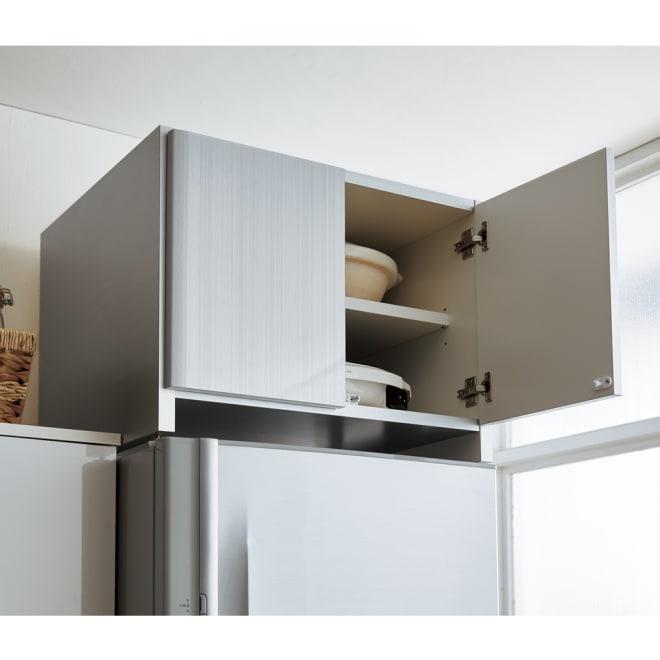 光沢仕上げ冷蔵庫上置き 奥行55高さ45.5cm コーディネート例(ア)シルバー