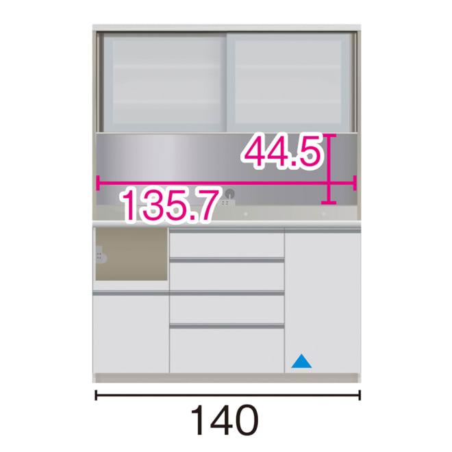 サイズが豊富な高機能シリーズ ダイニング家電収納 幅140奥行45高さ187cm/パモウナ JZL-S1400R JZR-S1400R (イ)家電収納の位置:左 ※赤文字は内寸、黒文字は外寸表示です。(単位:cm) オープン部奥行40.5 スライドテーブル部幅34.5高さ28.9奥行38cm ▲部分の収納部は開扉です。