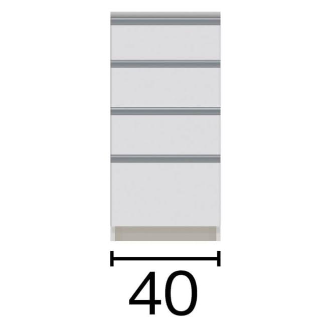 サイズが豊富な高機能シリーズ カウンター引き出し 幅40奥行45高さ84.8cm 黒文字は外寸表示です。(単位:cm)
