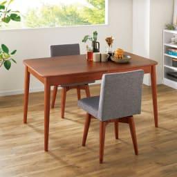 ウォールナット伸長式ダイニング ダイニングセット 伸長式テーブル お得な3点セット 伸長式テーブル・幅110・150cm+ファブリック回転チェア2脚組 コーディネート例(イ)グレー ※テーブルは通常時幅110cm