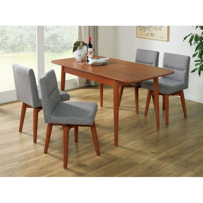 ウォールナット伸長式ダイニング ダイニングセット 伸長式テーブル お得な5点セット 伸長式テーブル・幅110・150cm+ファブリック回転チェア2脚組×2 コーディネート例(イ)グレー ※テーブルは伸長時幅150cm