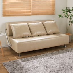 レザー風壁付けソファベッド 幅172cm (イ)グレージュ レザー風で存在感抜群。アッという間にベッドに変身!!壁に付けたまま使えるソファベッド。