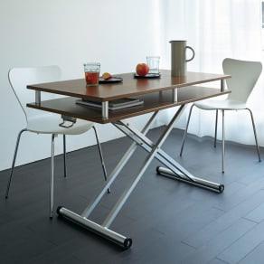 棚付き昇降式テーブル 幅102(天板90)cm 写真