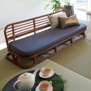 ラタン座椅子ソファシリーズ ソファ 幅140cm 写真