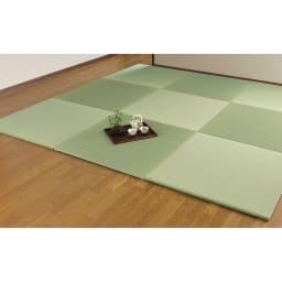 へりなしフロア畳 4.5畳用(9枚組)[い草ラグ] ※い草を染めているため、色合いが若干異なる場合があります。 ※写真は4.5畳用(9枚組)です。