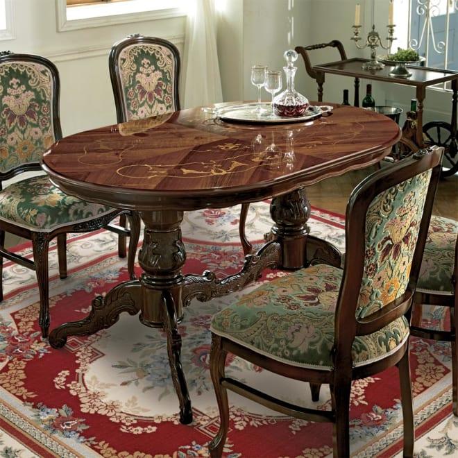イタリア製 金華山シリーズ 象がんオーバルダイニングテーブル 重厚感のある優美なリビングテーブルです。※お届けはオーバルダイニングテーブルです。
