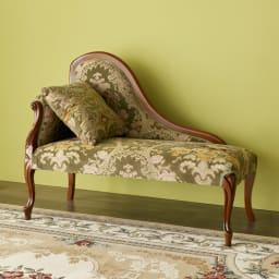 イタリア製金華山織DXソファ カウチソファ コンパクトで華やかな佇まいの、イタリア製カウチソファ