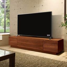 天然木無垢材のテレビ台シリーズ ウォルナット天然木 テレビ台・幅180cm ウォルナット天然木の流麗な木目をお楽しみください。