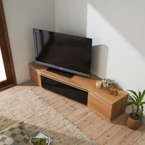 住宅事情を考えた天然木調コーナーテレビ台 左コーナー用 幅165cm 写真
