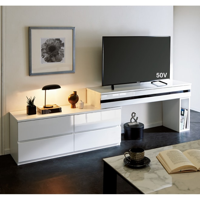 ラインスタイル伸長式テレビ台 ハイタイプ(高さ70cm) (ア)ホワイト(右タイプ)≪幅最大時≫ ※写真は幅150~247cmタイプです。
