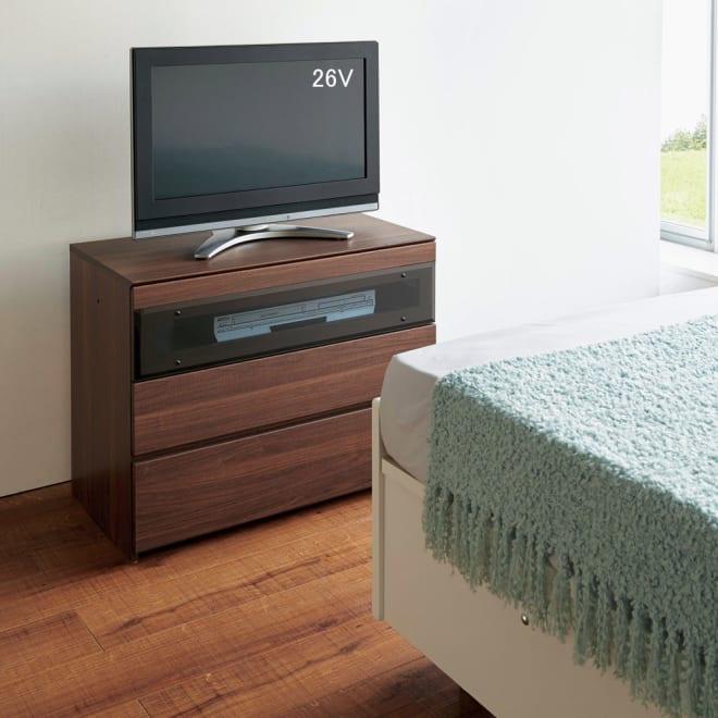 パモウナGV-80ダイニングからシアターリビングシリーズ テレビ台 幅80cm (ア)ダークブラウン ベッドルームにもぴったり。