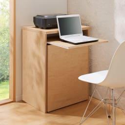 プリンターが使いやすいワゴン付きPCキャビネット 幅60cm (ア)ナチュラル 最大31cm引き出せるスライド天板。