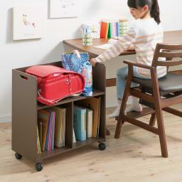 回して隠せるラック オープン収納ラック (ウ)ブラウン 子供部屋ではデスク横のワゴンとしても。