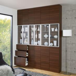 クリアな扉が美しいコレクション収納 本体扉タイプ 幅60cm奥行30cm高さ180cm 写真