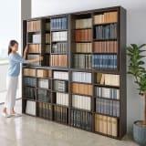 大型書籍も収納できる オープン書棚&スライド書棚 幅90cm 写真