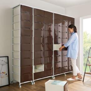 家族の衣類を一括収納 大量収納タワーチェスト 3列・10段タイプ 写真